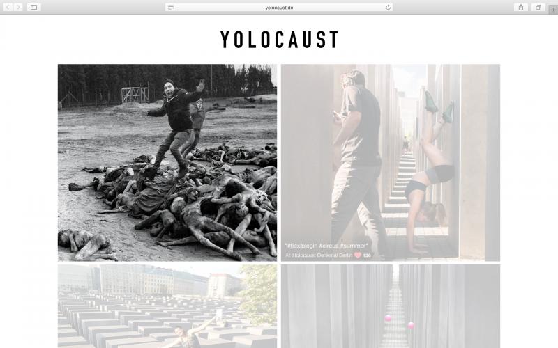 Израильский сатирик совмещает селфи умемориала Холокоста сфото узников концлагерей