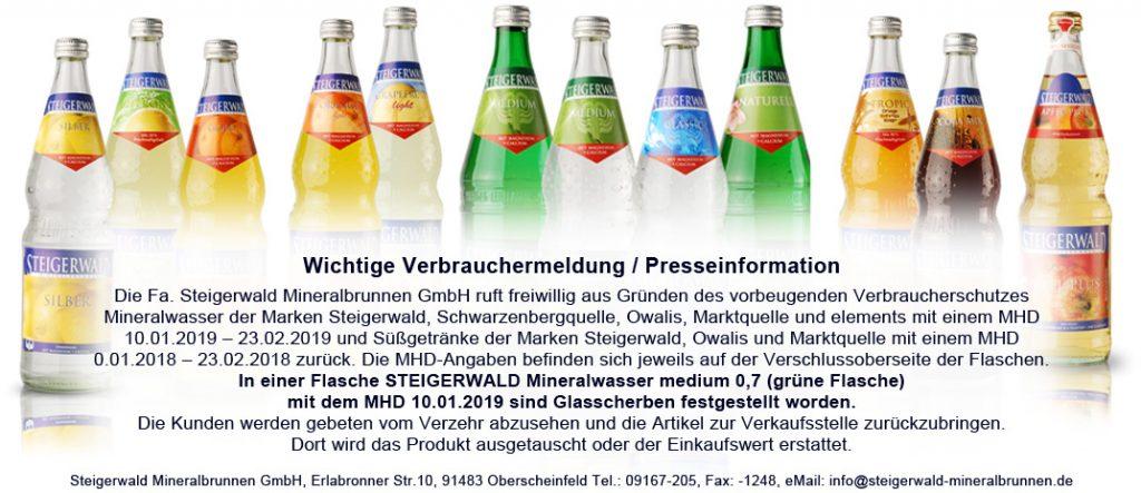 Полезные советы: В минеральной воде Steigerwald обнаружены осколки стекла