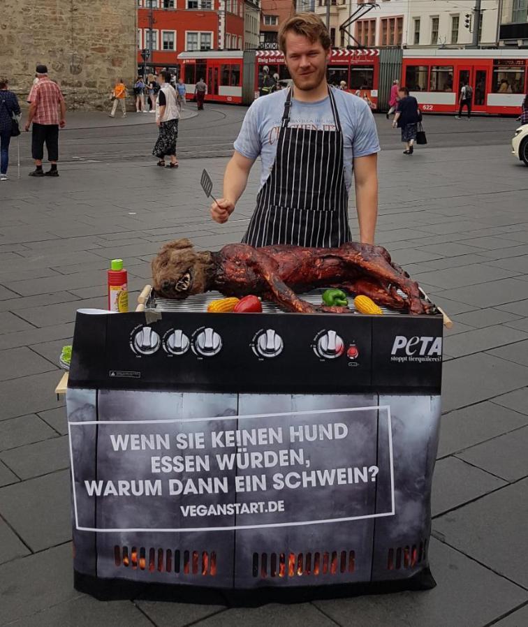 Общество: Собака на гриле шокировала жителей многих немецких городов: в чем суть?